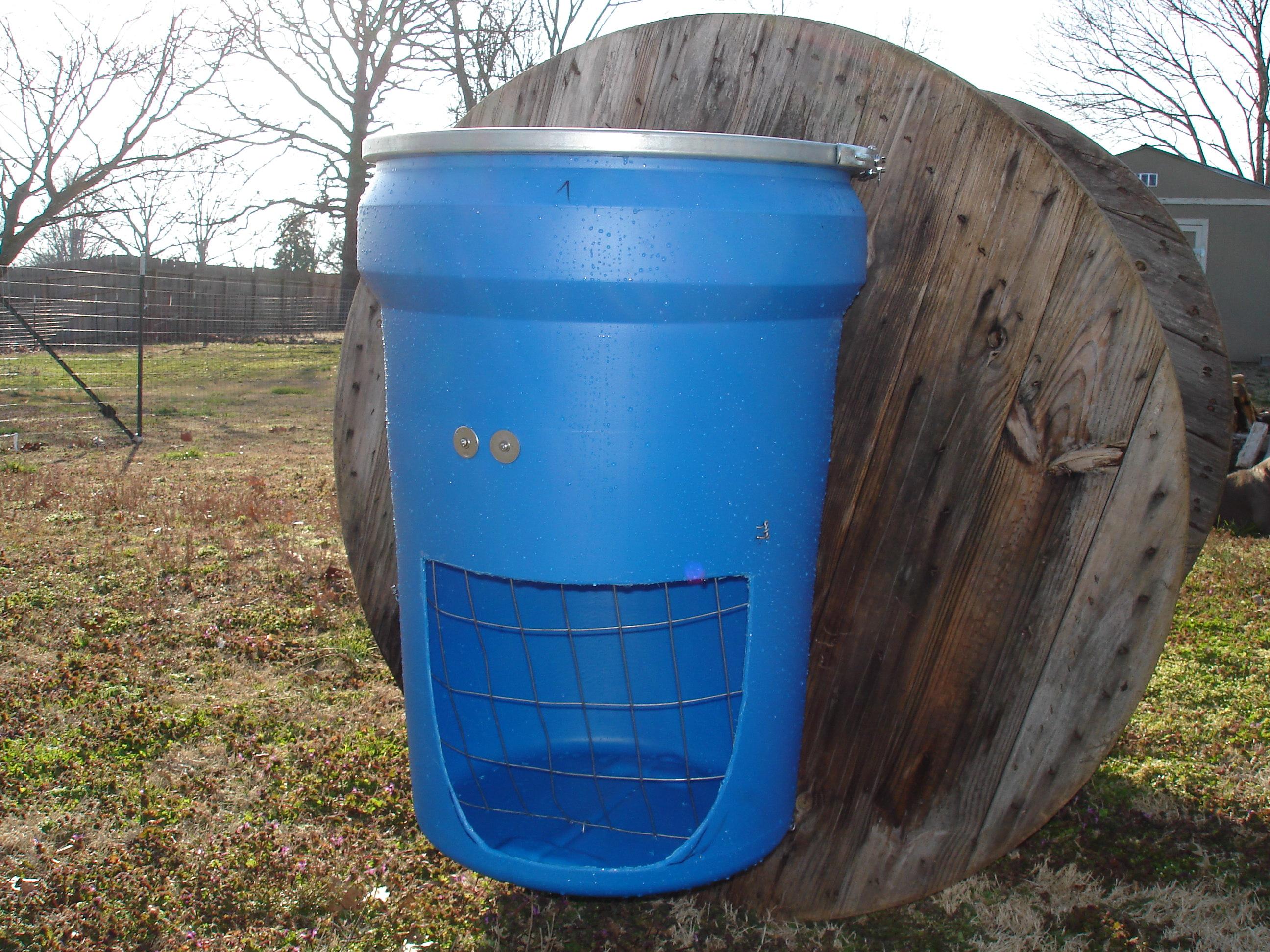 Barrel hay feeder and rolling feed station 171 fussbudget farm